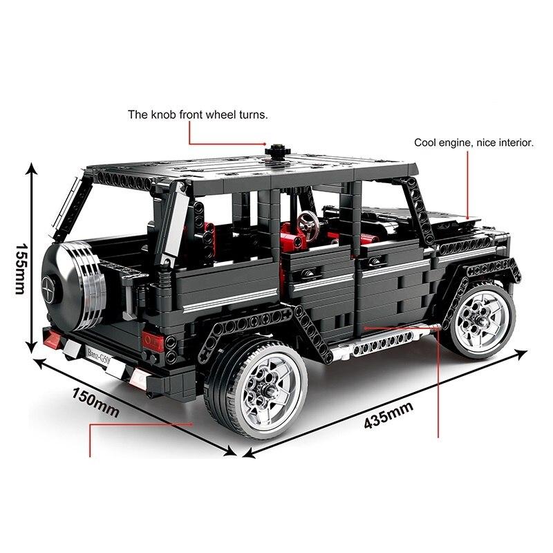 テクニックビルディングブロック 1343 個のおもちゃ車ブロックシミュレーション Merceding Benzs MOC 2425 G500 モデル子供のための誕生日プレゼント  グループ上の おもちゃ & ホビー からの ブロック の中 1