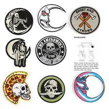 Circular Skull Embroidery Patch for Clothing Iron on Embroidered Fabric Badge Motif Garment DIY Apparel Applique Accessories round natural embroidery patch for clothing iron on embroidered fabric badge motif garment diy apparel applique accessories