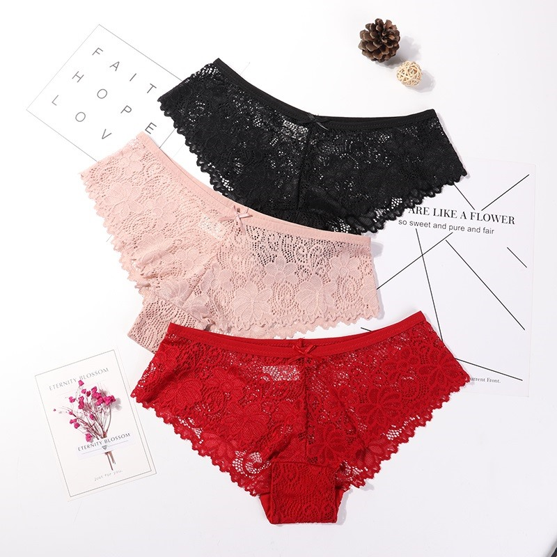 3 Pcs   Panties   For Woman Sexy Lace Low Waist Breathable Female   Panty   Hollow Transparent Briefs Sexy Underwear M-2XL 3PCS