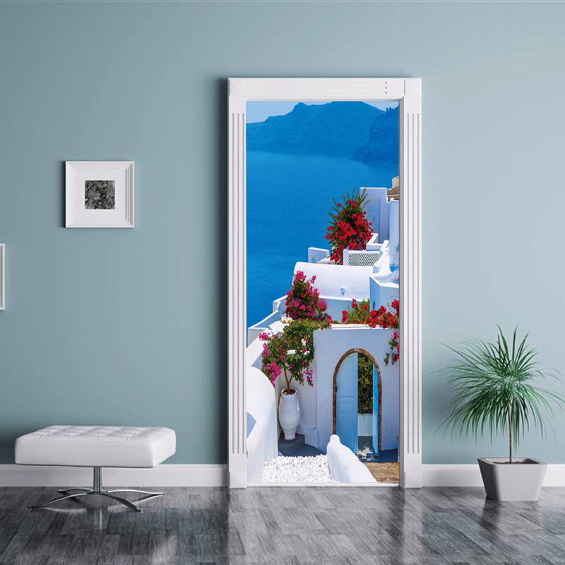 3D griega creativa paisaje papel pintado impermeable puerta pegatina salón dormitorio papel pintado Auto adhesivo arte tatuajes de pared