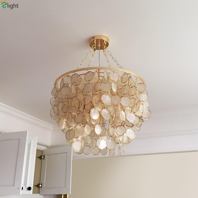 Customize Modern Lustre Gold Metal Led Pendant Chandelier Lights Round Shell Living Room Led Chandeliers Lighting Hanging Light