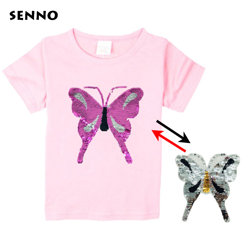 2018 Reverse discoloration face flip double sequins butterfly childrens t-shirts boy girl t shirt kids cartoon tshirts clothes2018 Reverse discoloration face flip double sequins butterfly childrens t-shirts boy girl t shirt kids cartoon tshirts clothes
