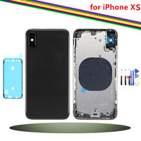 Replacement Back Cover for iPhone X XS Max Rear Housing Middle Frame with Back Battery Door Glass, Black White