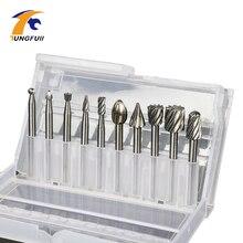 Tungfull ferramentas rotativas, ferramentas rotativas 10 pçs/lote hss para roteador, ferramenta de gravura, acessórios dremel