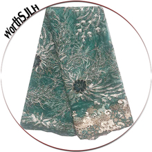5 Yards African French Lace Fabric 2019 Sliver Beaded Guipure Lace Fabric Green Net Nigerian Bridal Lace Fabric With Stones milk silk nigerian french net lace fabric embroidered stones african lace fabric high quality dubai guipure mesh lace 5 yards