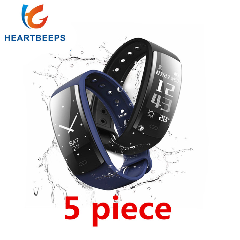 5piece QS90 Smart Wirstband Blood Pressure Monitor Heart Rate Fitness Tracker Smart Bracelet IP67 Waterproof Pedometer Smartband