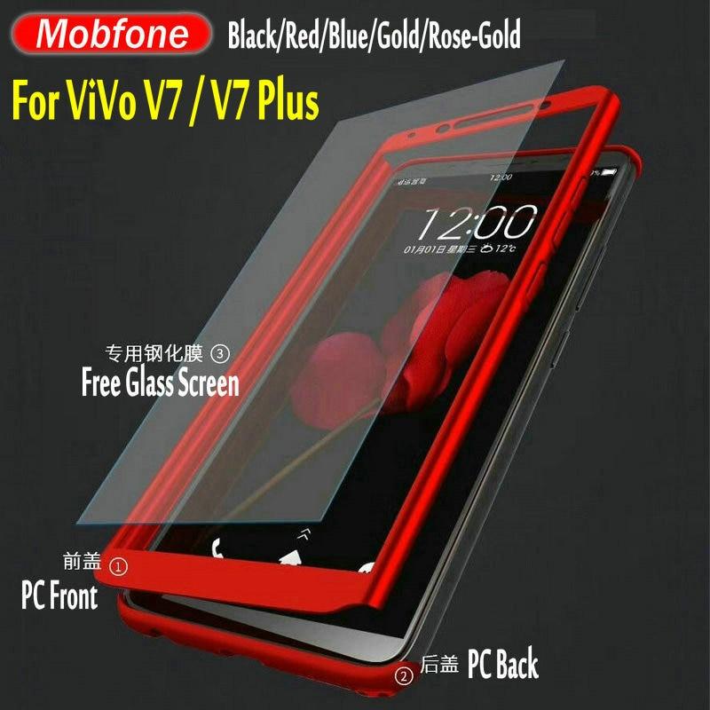 buy popular 73a4d 516c9 US $3.67 8% OFF|Mobfone Case For BBK Vivo V7 Y75 / V7 PLUS V7+ Y79 360 Full  Protection Back Cover Front + Back With V7 PLUS Free Glass Protector-in ...