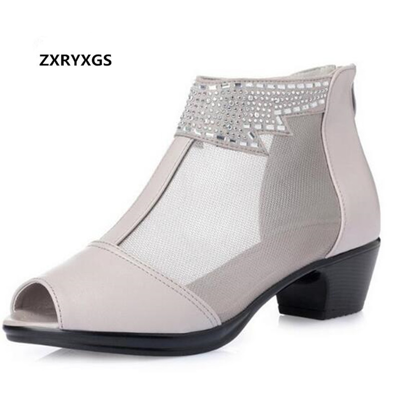 New Open Toe Rhinestone Shoes Women Sandals Cool Boots 2018 Plus Size Fashion Sandals Mesh Genuine Leather Shoes Women Sandals