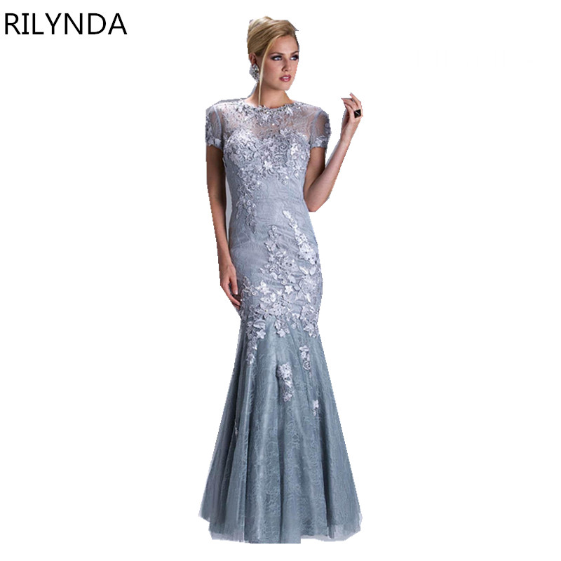 Short Sleeve Prom Dresses 2016 Gorgeous O-neck Top Lace Floor Length Stretch...