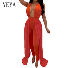 YEYA Summer Orange Hollow Out Backless Halter Jumpsuit with Cloak Women Sexy Deep V Neck Off Shoulder Night Club Party Playsuit