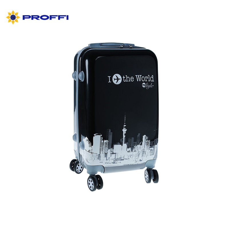 Fashionable suitcase with print PROFFI TRAVEL PH8653, S, plastic, with combination lock  on wheels fashionable women s shoulder bag with geometric pattern and leopard printed design