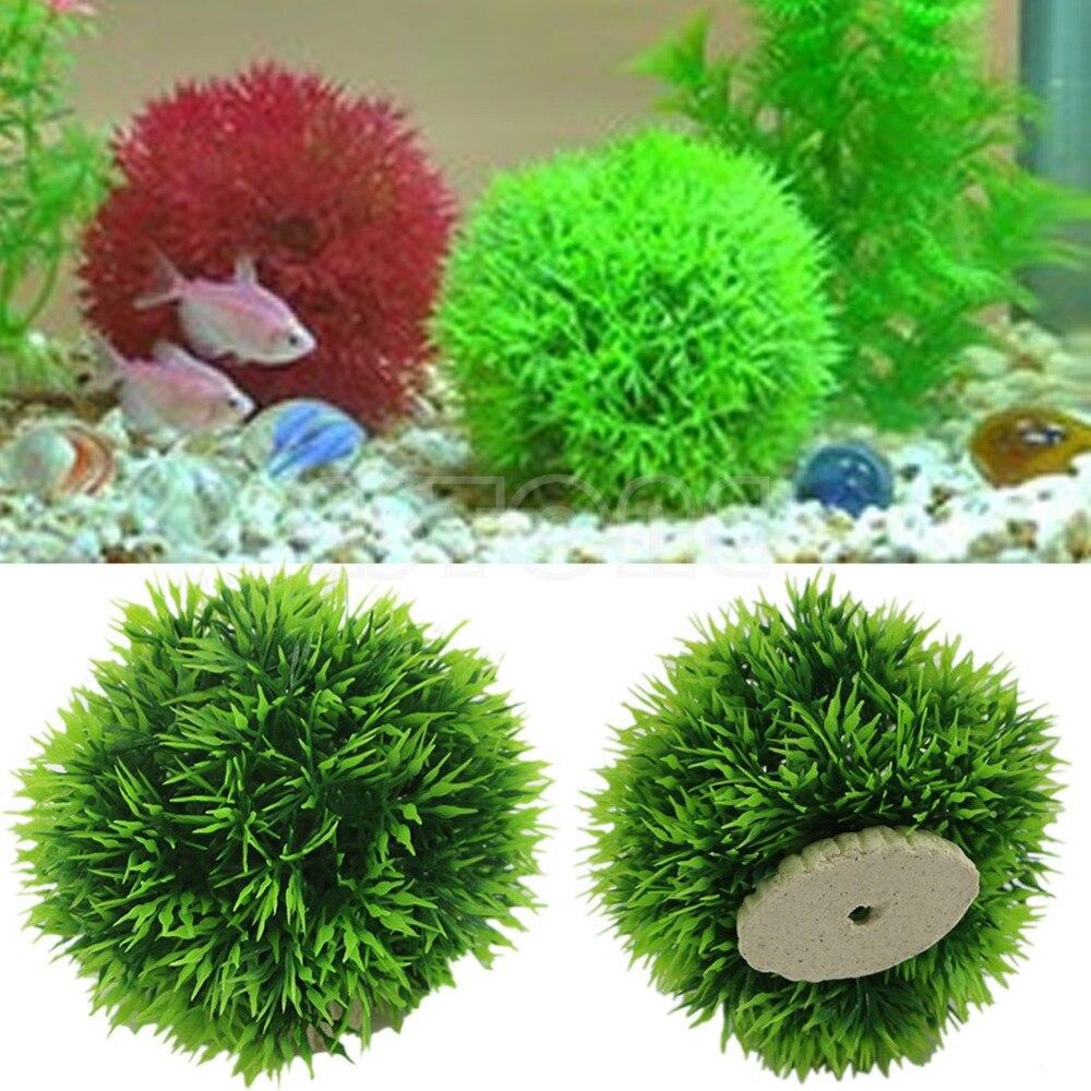 Artificial Aquatic Plastic Plants Aquarium Grass Ball Fish Tank Ornament Decor