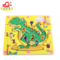 Double Sides Wooden Puzzles Magnet Beads Slot Maze Board Learning Intelligence Game Kids Educational Handcraft Toys