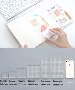 Image 4 - 6pcs DIY Acrylic Clear Stamp Block set Handle Stamping Photo Album Decor Essential Stamping Tools for Scrapbooking Crafts Making