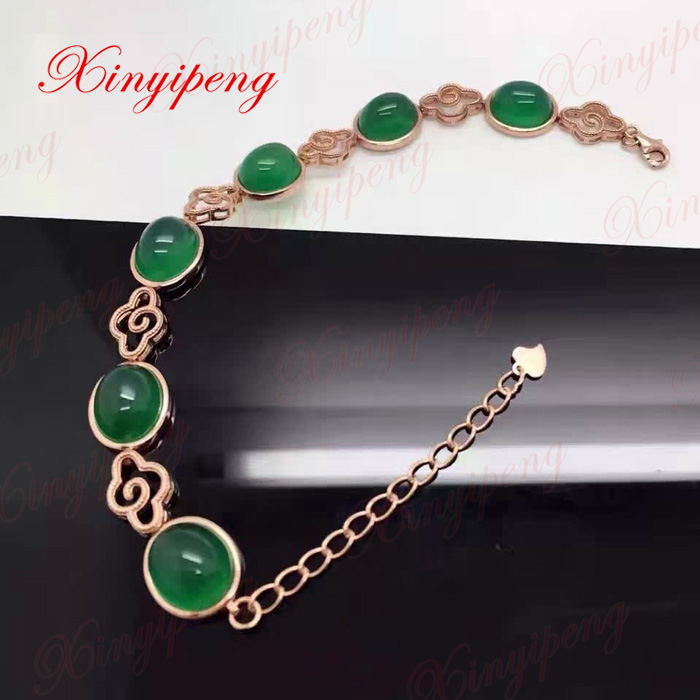 GLY 925 sterling silver with 100% natural chalcedony bracelets women Fashion is pure and fresh fashion pure 925 sterling silver green chinese 100% natural jadeite pendant with certificate