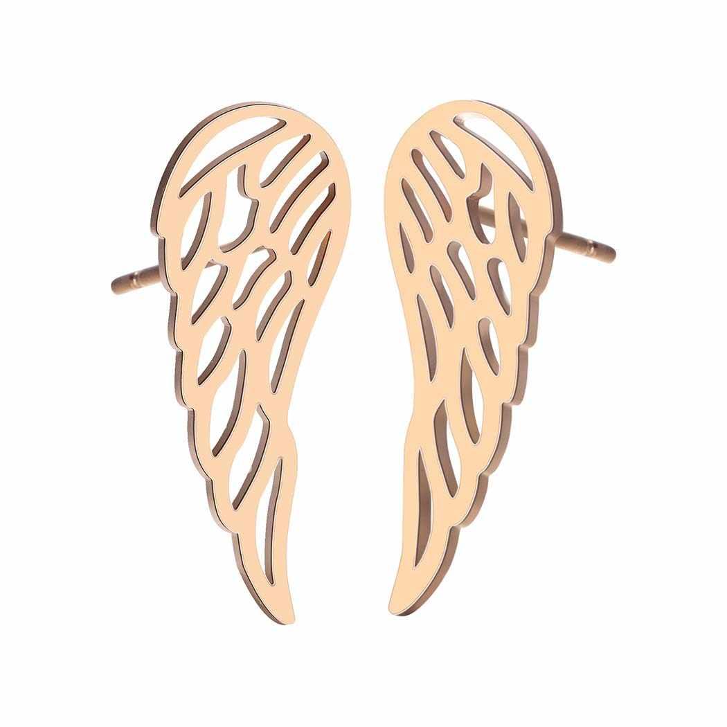 ステンレス鋼のイヤリングの女性六角翼水ドロップ幾何スタッドピアスヴィンテージファッションジュエリー女性ギフトゴールドイヤリング