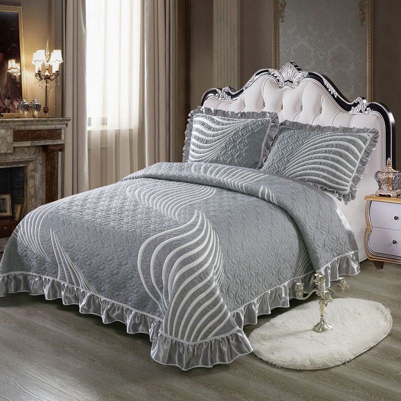 100% Cotton 3D Quilted Ruffles Bed Spread Coverlet Sets Tatami Mat Bed Sheet Pillowcases Sofa cover Queen King size 3Pcs100% Cotton 3D Quilted Ruffles Bed Spread Coverlet Sets Tatami Mat Bed Sheet Pillowcases Sofa cover Queen King size 3Pcs