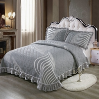 100% Cotton 3D Quilted Ruffles Bed Spread Coverlet Sets Tatami Mat Bed Sheet Pillowcases Sofa cover Queen King size 3Pcs