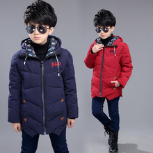 2016 Winter kid boys solid thick cotton jacket children long type windprood clothing coat