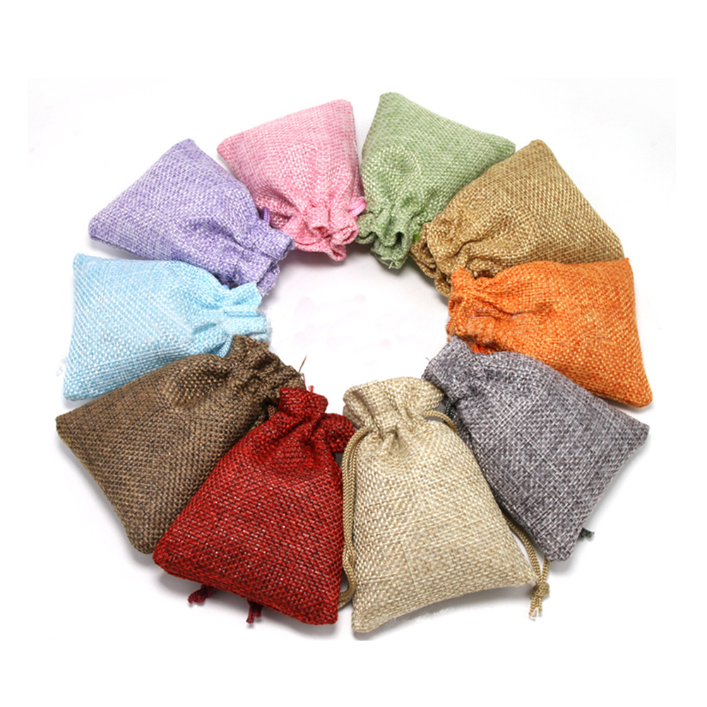 11colors 7x9cm/ 10x14cm/13x18cm Birthdays Christmas Wedding Party Hessian Burlap Candy Gift Bags Drawstring Linen Jewelry Pouch