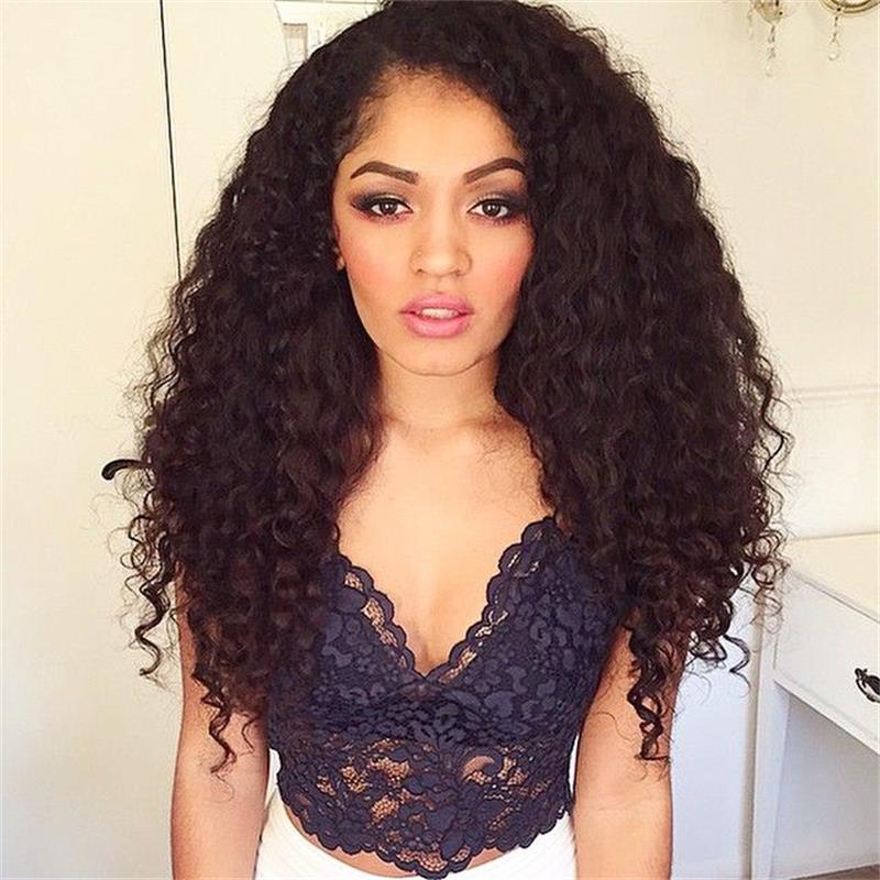 Бразильские волосы курчавые Искусственные парики Человеческие волосы 130% плотность Синтетические волосы на кружеве парик натуральный Цвет... ...