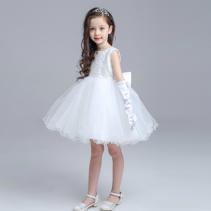 High Quality Big Bow Children Princess Dress Girl Birthday Wedding Party Formal  Flower Girls Dresses Girls Puff Costume Clothes brand high quality multi layers formal party girl dress children white princess flower girl vestidos 2016 kids clothes akf164027