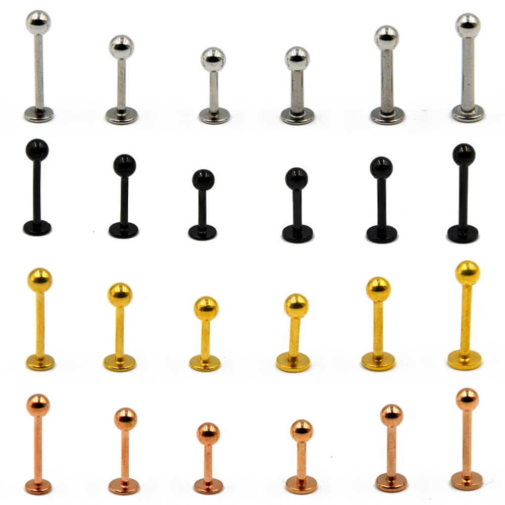 1Piece 316L Surgical Steel Titanium Anodized Labret Lip Stud Ring Ear Tragus Stud Barbell Body Piercing Jewelry
