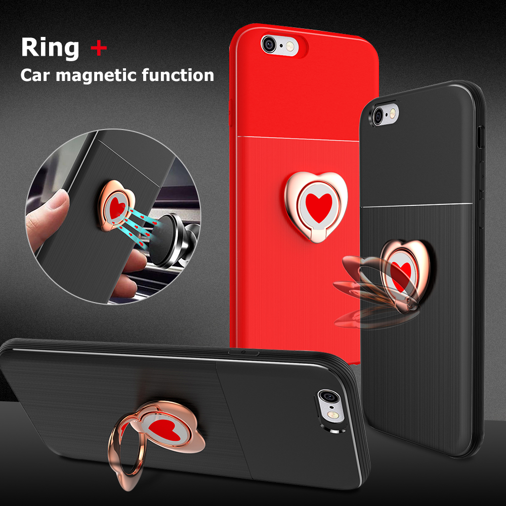 Magnetic Car Holder Case For iPhone X 7 8 Plus 6 6S Love Car Holder Stand Bracket Finger Ring Back Cover For iPhone 7 8 10 Cases