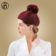 FS invierno de las mujeres sombrero de la boina mujer rojo negro Fox Bola  de Pelo. 4 colores disponibles 6b1c679ff86