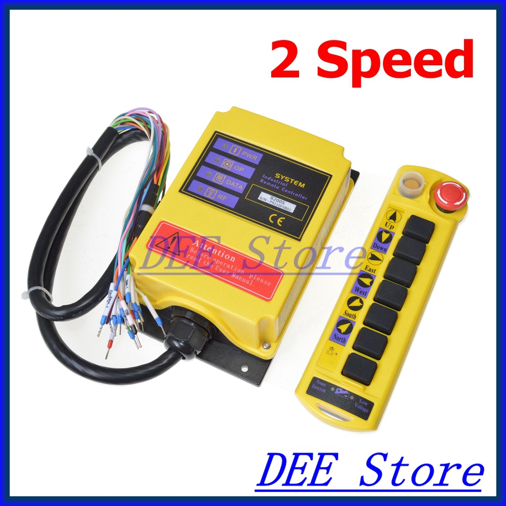 цена на Free Shipping 1 Transmitter 7 channels 2 Speed Truck Control Hoist Crane Remote Control Push Button Switch System with E-stop