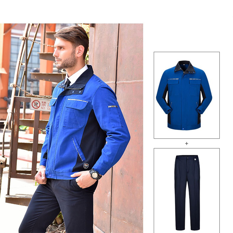 Image 2 - Men Women Work Clothing Set Long sleeve Jacket and Plants Work Overalls Working Uniforms For Factory Welding Machine Repair-in Safety Clothing from Security & Protection