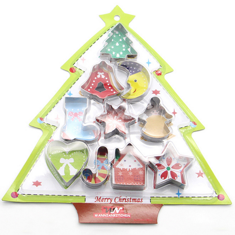 10 copë Bakeware Cookie Christmas Cutter Cookies Cutter Biscuit Mould Set Sugar Arts Fondant Cake Decoration Tools