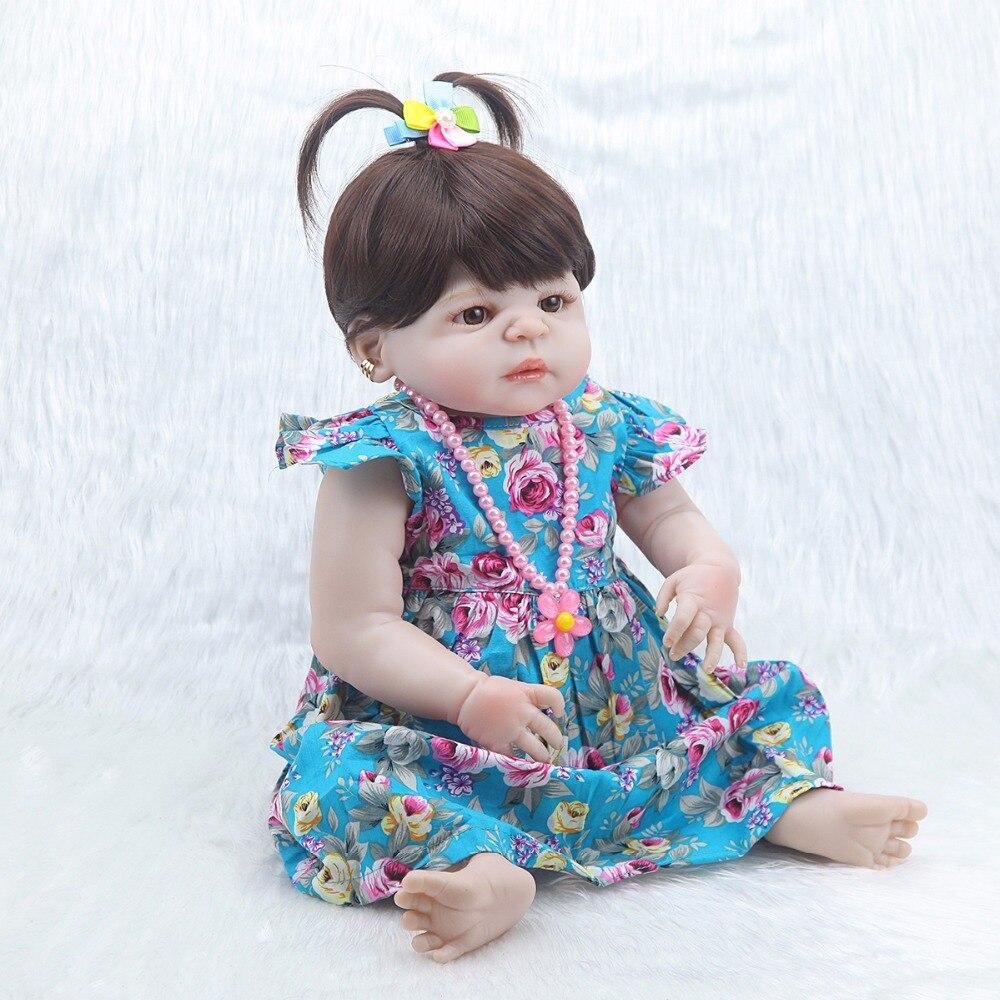 Forrsdor 57 ซม. ใหม่ bebe bonecas จำลองเด็กทารกแรกเกิดดอกไม้สีฟ้ากระโปรงที่ดีที่สุดของขวัญเด็กซิลิโคนเด็กทารก reborn ตุ๊กตา-ใน ตุ๊กตา จาก ของเล่นและงานอดิเรก บน   3