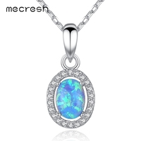 Mecresh 925 Sterling Silver Oval Opal Pendant Necklace for Women Fashion CZ Collares Jewelry Classic European Design MXL100