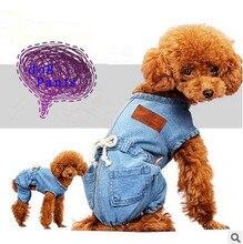 Casual Denim Cintura sola pieza Pantalones Ropa Para Perros de Perrito Ropa Para Perros Pequeños Pantalones A Cuadros Pantalones Cortos de Jean Pantalones de Mascotas