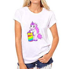 Plus Size 2018 summer women funny t shirts Unicorn Rainbows Harajuku Kawaii Shirt Printing Top Streetwear camisa feminina(China)