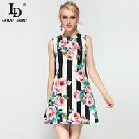 여름 패션 활주로 드레스 여성 민소매 탱크 블랙 하얀 스트라이프 나비 구슬 장미 꽃 인쇄 최소 짧은 드레