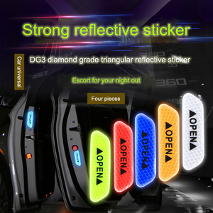 Image 5 - 4 Colors 4 Pcs Door Safety Reflective Warning Stickers Car DIY Safety Mark Auto Decor Night Lighting Luminous Tapes Car styling