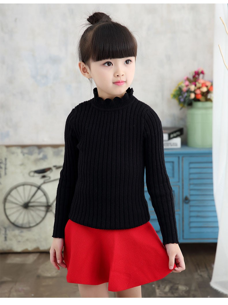 knitting big baby girls sweaters kids winter sweater 2016 long sleeve tops knitted kids sweaters girls pink green black kids top (10)