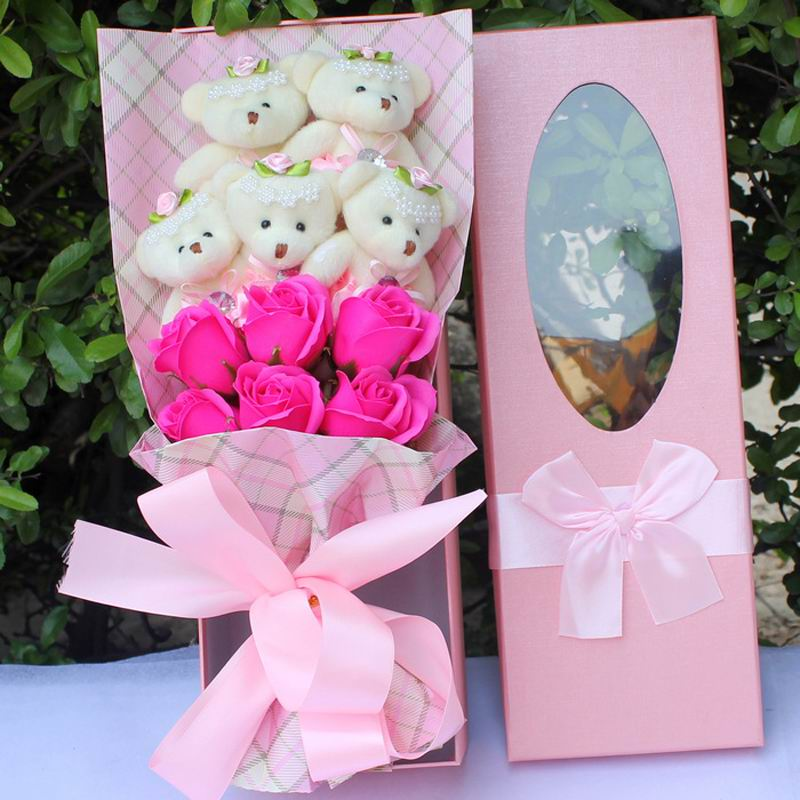 SAILEROAD Kawaii dessin animé ours point peluche poupée jouets nouveau Bouquet en peluche avec fausse fleur pour fête de mariage cadeau d'anniversaire avec boîte