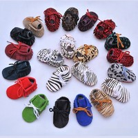 New Genuine Leather 20 Colors Baby Moccasins Shoes Lace Up Leopard Red Bottom Sole Baby Shoes
