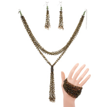 BeUrSelf Ethnic Bohemian Handmade Jewelry Set Layered Long Tassel Necklace Pearl Multi Color Seed Beaded Bracelet Drop Earring