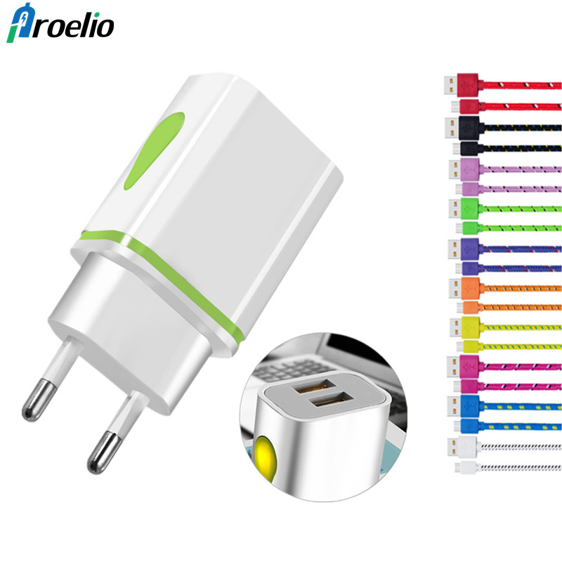 Proelio EU/US Plug 2 Ports 5V 2.1A LED Light USB Charger Wall Adapter For iPhone iPad Samsung Mobile Phone Micro Data Charging
