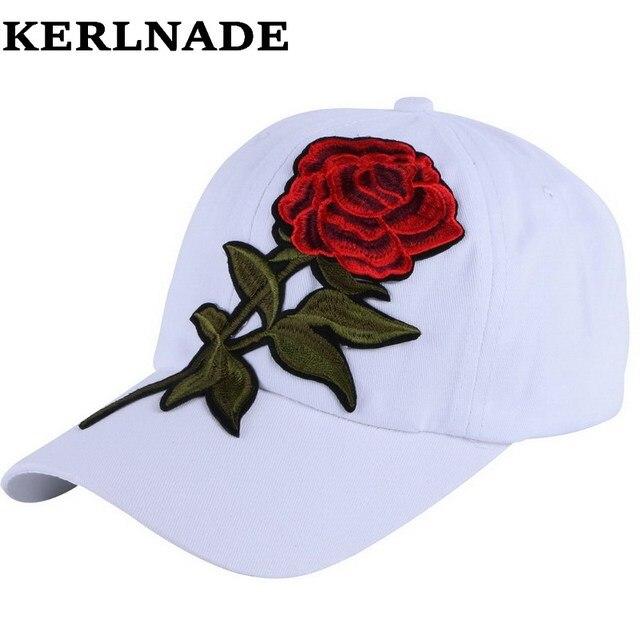 New trendy luxury wanita gadis kecantikan bisbol topi rose floral desain  hip hop snapback topi putih f25973da09