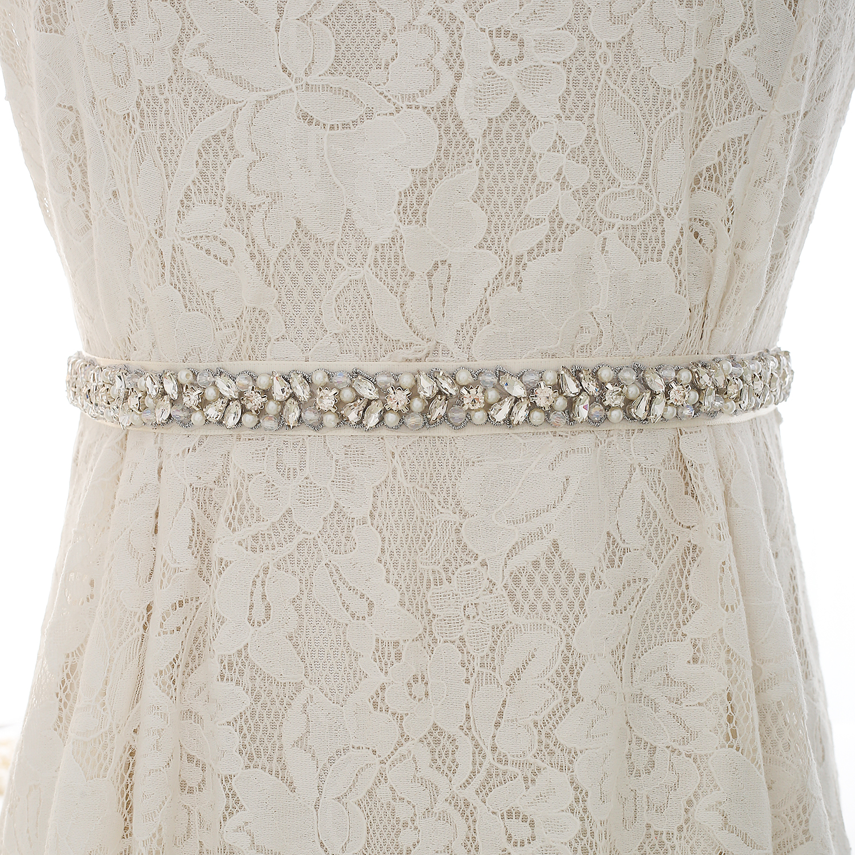 Crystal Wedding Belts Handmade Wedding Sash Silver Rhinestones Bridal Belts For Wedding Dress Accessories ZSS134BS