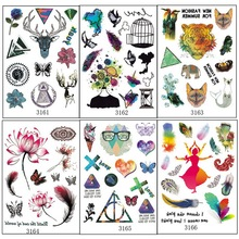 6 Sheets Multi-style Fashion Cool Temporary Tattoo With Tiger And Deer Unicorn Color Fake Tattoos Stickers Birds Feathers Lotus