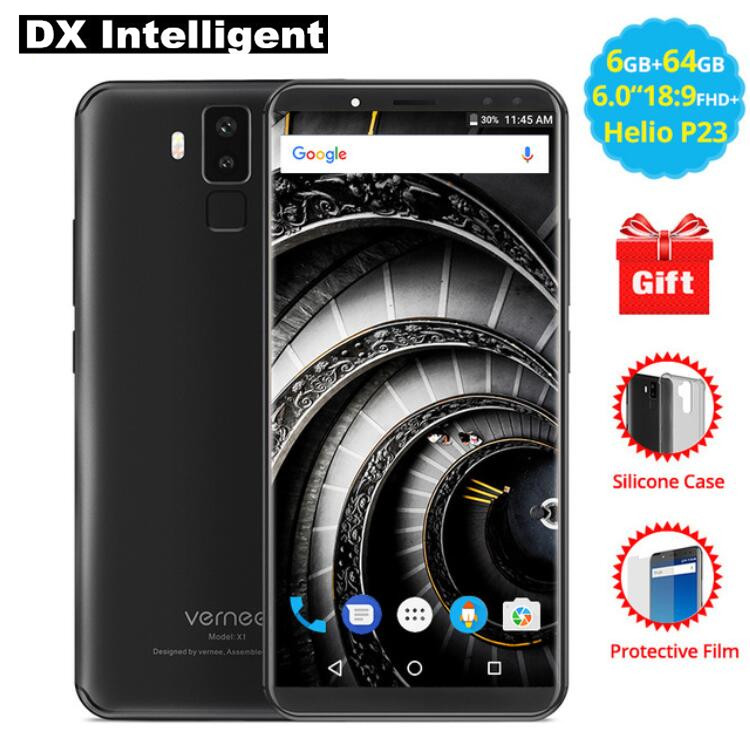 Vernee X1 6.0 Inch 18:9 FHD Face ID Mobile Phone MT6763 Octa Core Helio P23 6GB 64GB Android 7.1 16MP Four Camera Fingerprint 4G
