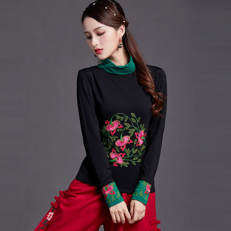 Chinese Style High Necked Womens Long Sleeves Spring Autumn Winter Clothes New T Shirt Female Girls Lady Embroidered Shirts Top