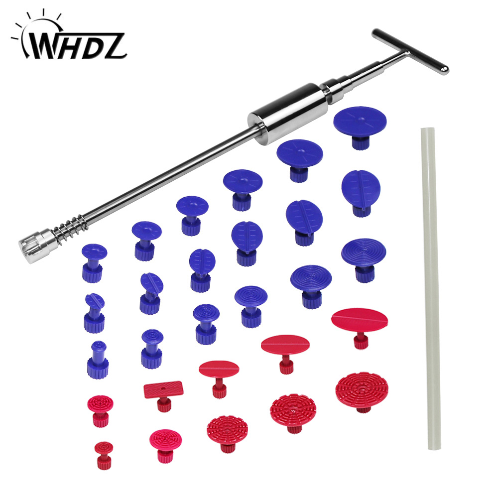 PDR Tools Kit Ferramentas Dent Removal Paintless Dent Repair Tools Dent Puller Slide Hammer Metal Tabs Suction Cup Suckers PDR pdr tools slider hammer dent puller kit suction cups glue tabs paintless dent repair auto repair tool kit ferramentas 19 pcs set