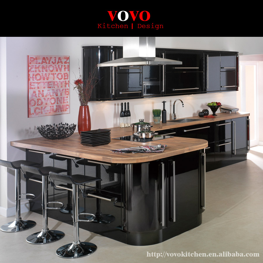 High Gloss Black Unique Kitchen Islands With Dining Bar Design